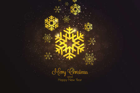 Merry Christmas and Happy New Year 2018 Golden Greeting Card. Party poster, greeting card, banner or invitation. Snowflake formed by glowing gold dust. Vector Illustration