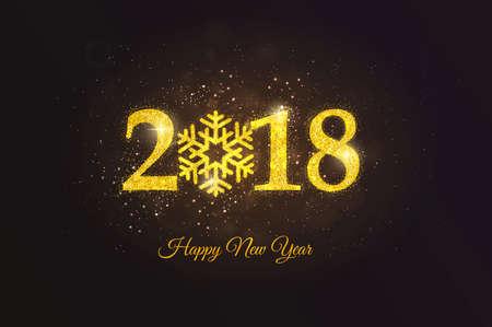 행복 한 새 해 2018 황금 인사말 카드입니다. 파티 포스터, 인사말 카드, 배너 또는 초대장. 번호 2018 빛나는 골드 먼지에 의해 형성. 벡터 일러스트 레이