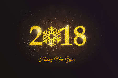 Happy New Year 2018 Golden Greeting Card. Party poster, greeting card, banner or invitation. Number 2018 formed by glowing gold dust. Vector Illustration