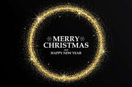 메리 크리스마스와 행복 한 새 해 2018 황금 인사말 카드입니다. 파티 포스터, 인사말 카드, 배너 또는 초대장. 원형은 빛나는 금 먼지로 형성됩니다. 벡