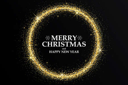 Merry Christmas and Happy New Year 2018 Golden Greeting Card. Party poster, greeting card, banner or invitation. Circle formed by glowing gold dust. Vector Illustration
