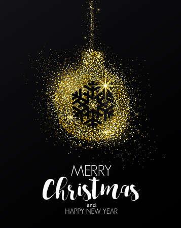 Cartolina d'auguri dorata di buon Natale e felice anno nuovo per poster di partito, cartolina d'auguri, banner o invito con design di ornamento di Natale formata da polvere d'oro incandescente. Illustrazione vettoriale Archivio Fotografico - 91502453