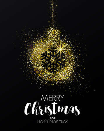 Merry Christmas and Happy New Year Golden Greeting Card for Party poster, greeting card, banner or invitation with design of Christmas ornament formed by glowing gold dust. Vector Illustration Illustration