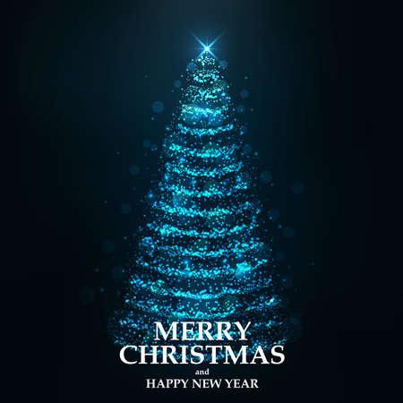 光から抽象的なクリスマスツリー。グリーティング カードまたは招待状。ベクトルイラストレーション
