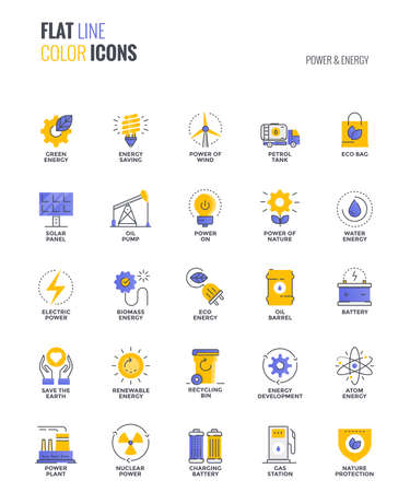 Set of flat line smooth gradient color icons for Power and Energy, suitable for mobile concepts, web application, printed media and infographics projects. Vector Illustration
