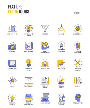 Set of flat line smooth gradient color icons for Graphic design, suitable for mobile concepts, web application, printed media and infographics projects. Vector Illustration Illustration