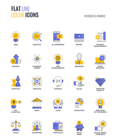 Set of flat line smooth gradient color icons for Business and Finance, suitable for mobile concepts, web application, printed media and infographics projects. Vector Illustration.