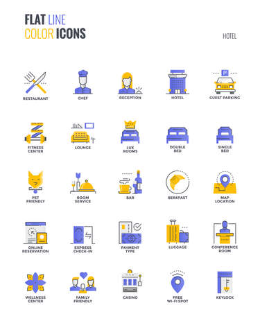Set of flat line smooth gradient color icons for Hotel services, suitable for mobile concepts, web application, printed media and infographics projects. Vector Illustration