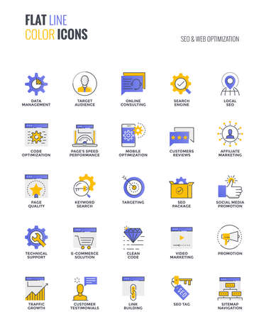 Set of flat line smooth gradient color icons for SEO and Web optimization, suitable for mobile concepts, web application, printed media and infographics projects.