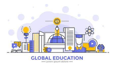 ウェブサイトやモバイルウェブサイトのためのグローバル教育の薄いライン滑らかなグラデーションフラットデザインバナー、使いやすく、高度に