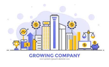 Thin line smooth gradient flat design banner of Growing Company for website and mobile website, easy to use and highly customizable. Modern vector illustration concept, isolated on white background.