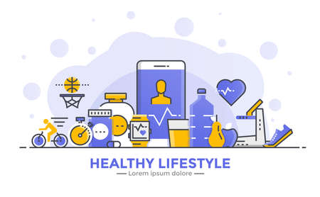 Thin line smooth gradient flat design banner of Healthy Lifestyle for website and mobile website, easy to use and highly customizable. Modern vector illustration concept, isolated on white background.