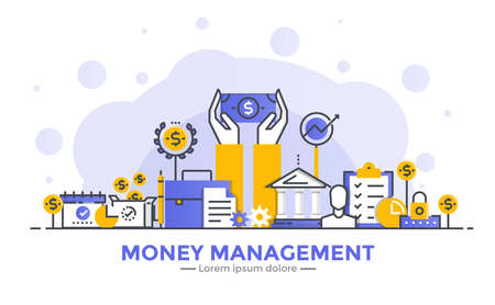 Thin line smooth gradient flat design banner of Money mangement for website and mobile website, easy to use and highly customizable. Modern vector illustration concept, isolated on white background.