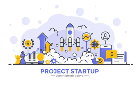 Thin line smooth gradient flat design banner of Project Startup for website and mobile website, easy to use and highly customizable. Modern vector illustration concept, isolated on white background.