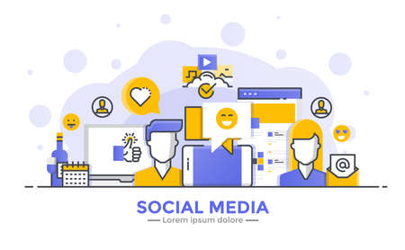 Thin line smooth gradient flat design banner of Social Media for website and mobile website, easy to use and highly customizable.