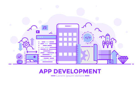 Thin line smooth purple and blue flat design banner of apps development for website and mobile website, easy to use and highly customizable modern vector illustration concept, isolated on white background.