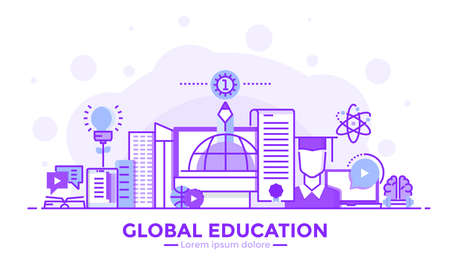 Thin line smooth purple and blue flat design banner of global education for website and mobile website, easy to use and highly customizable modern vector illustration concept, isolated on white background.