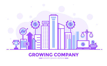 Thin line smooth purple and blue flat design banner of growing company for website and mobile website, easy to use and highly customizable modern vector illustration concept, isolated on white background.