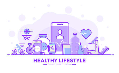 Thin line smooth purple and blue flat design banner of healthy lifestyle for website and mobile website, easy to use and highly customizable modern vector illustration concept, isolated on white background.