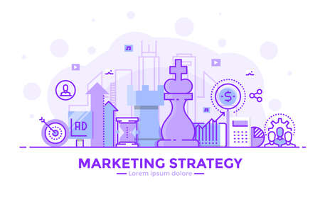 Thin line smooth purple and blue flat design banner of Marketing Strategy for website and mobile website, easy to use and highly customizable.