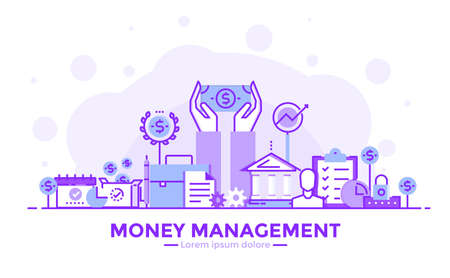 Thin line smooth purple and blue flat design banner of money management for website and mobile website, easy to use and highly customizable modern vector illustration concept, isolated on white background.
