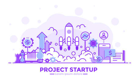 Thin line smooth purple and blue flat design banner of Project Startup for website and mobile website, easy to use and highly customizable.