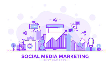 Thin line smooth purple and blue flat design banner of Social Media Marketing for website and mobile website, easy to use and highly customizable.
