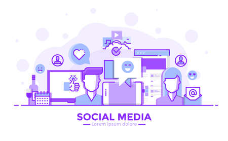 Thin line smooth purple and blue flat design banner of social media for website and mobile website, easy to use and highly customizable modern vector illustration concept, isolated on white background.