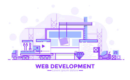 Thin line smooth purple and blue flat design banner of web development for website and mobile website, easy to use and highly customizable modern vector illustration concept, isolated on white background.