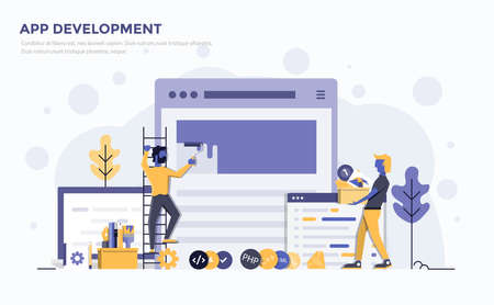 Modern flat design people and technology concept for website and app development, easy to use and highly customizable. Modern vector illustration concept, isolated on white background. Çizim