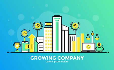 Dunne lijn vloeiende gradiënt platte ontwerp banner van Growing Company voor website en mobiele website, gemakkelijk te gebruiken en zeer maatwerk. Modern vector illustratie concept, geïsoleerd op een witte achtergrond.