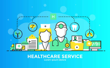 Thin line smooth gradient flat design banner of Healthcare service for website and mobile website, easy to use and highly customizable. Modern vector illustration concept, isolated on white background.
