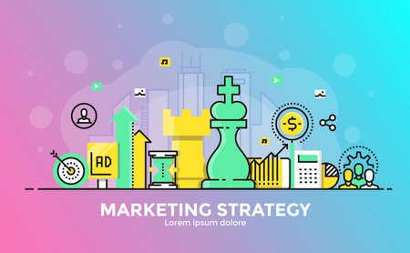 Dunne lijn vloeiende gradiënt plat ontwerp banner van marketingstrategie voor website en mobiele website, gemakkelijk te gebruiken en zeer maatwerk. Modern vector illustratie concept, geïsoleerd op een witte achtergrond.