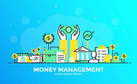Dunne lijn vloeiende gradiënt plat ontwerp banner van Money management voor website en mobiele website, gemakkelijk te gebruiken en zeer maatwerk. Modern vector illustratie concept, geïsoleerd op een witte achtergrond.