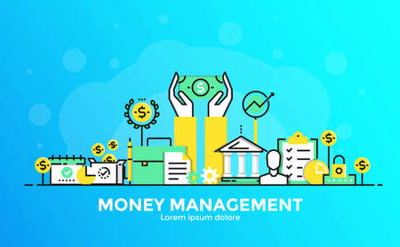 Thin line smooth gradient flat design banner of Money management for website and mobile website, easy to use and highly customization. Modern vector illustration concept, isolated on white background. Stock Illustratie