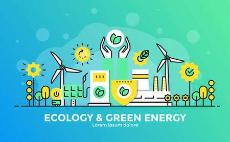Dunne lijn vloeiende gradiënt plat ontwerp banner van Ecology and Green Energy voor website en mobiele website, gemakkelijk te gebruiken en zeer maatwerk. Modern vector illustratie concept, geïsoleerd op een witte achtergrond.
