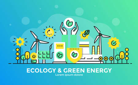 Dunne lijn vloeiende gradiënt plat ontwerp banner van Ecology and Green Energy voor website en mobiele website, gemakkelijk te gebruiken en zeer maatwerk. Modern vector illustratie concept, geïsoleerd op een witte achtergrond. Stockfoto - 93938122