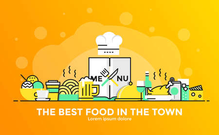 Thin line smooth gradient flat design banner of Restaurant for website and mobile website, easy to use and highly customization. Modern vector illustration concept, isolated on white background. Imagens - 93938123