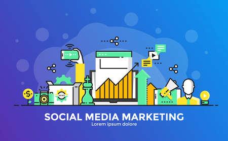 Dunne lijn vloeiende gradiënt plat ontwerp banner van Social Media Marketing voor website en mobiele website, gemakkelijk te gebruiken en zeer maatwerk. Modern vector illustratie concept, geïsoleerd op een witte achtergrond.