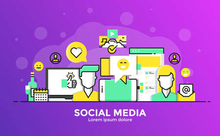 Thin line smooth gradient flat design banner of Social Media for website and mobile website, easy to use and highly customization. Modern vector illustration concept, isolated on white background. Illustration
