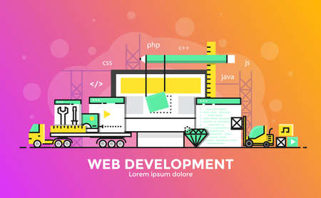 Dunne lijn vloeiende gradiënt plat ontwerp banner van Web Development voor website en mobiele website, gemakkelijk te gebruiken en zeer maatwerk. Modern vector illustratie concept, geïsoleerd op een witte achtergrond.