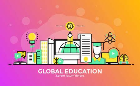 Dunne lijn vloeiende gradiënt plat ontwerp banner van Global Education voor website en mobiele website, gemakkelijk te gebruiken en zeer maatwerk. Modern vector illustratie concept, geïsoleerd op een witte achtergrond. Stock Illustratie
