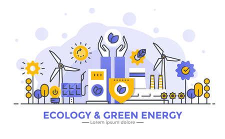 Dunne lijn vloeiende gradiënt plat ontwerp banner van Ecology and Green Energy voor website en mobiele website, gemakkelijk te gebruiken en zeer maatwerk. Modern vector illustratie concept, geïsoleerd op een witte achtergrond. Stock Illustratie
