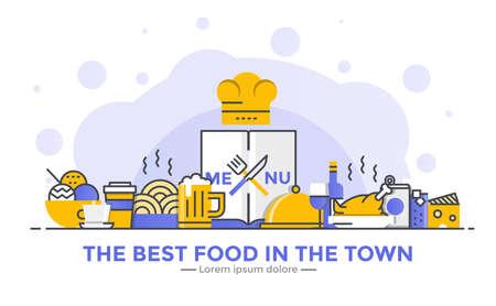 Dunne lijn vloeiende gradiënt platte ontwerp banner van Restaurant voor website en mobiele website, gemakkelijk te gebruiken en zeer maatwerk. Modern vector illustratie concept, geïsoleerd op een witte achtergrond. Stock Illustratie