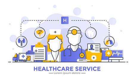 Dunne lijn vloeiende gradiënt plat ontwerp banner van gezondheidszorg service voor website en mobiele website, gemakkelijk te gebruiken en zeer maatwerk. Modern vector illustratie concept, geïsoleerd op een witte achtergrond.
