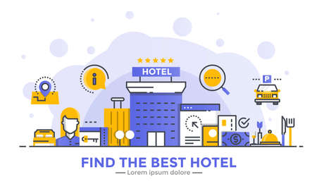 Thin line smooth gradient flat design banner of find the best hotel for website and mobile website, easy to use and highly customizable. Modern vector illustration concept, isolated on white background. Иллюстрация