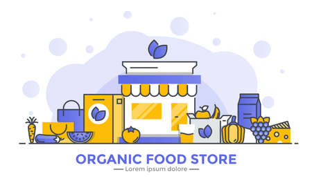Thin line smooth gradient flat design banner of Organic Food Store for website and mobile website, easy to use and highly customizable. Modern vector illustration concept, isolated on white background. Иллюстрация