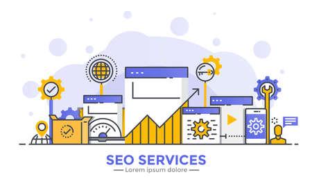 Dünne Linie glatten Farbverlauf flaches Design Banner von Seo Services für Website und mobile Website, einfach zu bedienen und hochgradig anpassbar. Modernes Vektorillustrationskonzept, lokalisiert auf weißem Hintergrund.