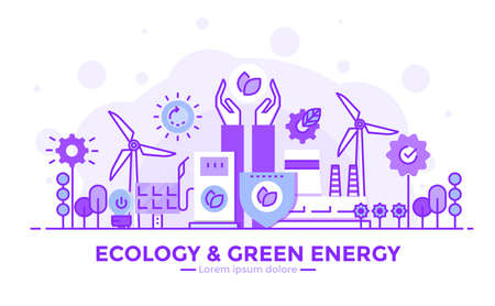 Thin line smooth purple and blue flat design banner of Ecology and Green Energy for website and mobile website, easy to use and highly customizable. Modern vector illustration concept, isolated on white background.