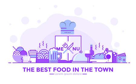 細いライン滑らかな紫と青のフラットデザインバナーのウェブサイトやモバイルウェブサイトのためのレストラン、使いやすく、高度にカスタマイ  イラスト・ベクター素材